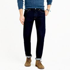 """Our 770 jeans are more narrow than our 1040 slim-straight but not as skinny as the 484 (our slimmest fit). This pair is made from authentic selvedge cotton denim from one of Japan's oldest and most renowned mills, then washed with a special treatment to give it a cool crinkled look. <ul><li>Sits below waist.</li><li>Straight through hip, with a slim thigh and leg.</li><li>15 3/4"""" leg opening (based on size 32/32).</li><li>Cotton.</li><li>Button fly.</li><li>Traditional 5-pocket styling with…"""