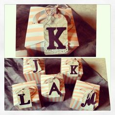 Bridesmaid gift boxes. Striped boxes from PYP :)