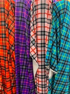 Plaid Spandex Print - 4 Way Stretch Nylon Spandex or Lycra / sold by the yard 4 colors Available by la20fabrics on Etsy Spandex Fabric, Plaid Scarf, Stretches, Trending Outfits, Yard, Etsy, Things To Sell, Colors, Fashion