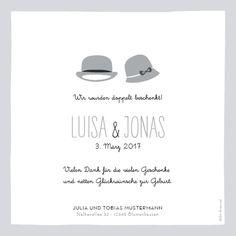 Geburtskarte Lady Gentleman Zwillinge