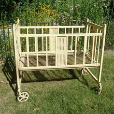 Vintage  baby crib on wheels by HollyWouldFind on Etsy