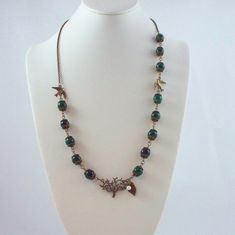 Green Agate and Bronze Tree Necklace by tbyrddesigns on Etsy, $29.00