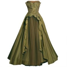 1950's Fred Perlberg Marigold Green-Yellow Taffeta Strapless Evening... ($15) ❤ liked on Polyvore featuring dresses, gowns, long dresses, vestidos, yellow evening gown, yellow strapless dress, green gown and green strapless dress