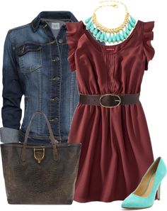 """""""Contest: Style this Merona Womens Ruffle Sleeve Woven Dress"""" by chelseagirlfashion on Polyvore"""