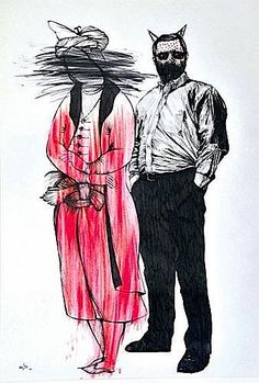 MOHSEN AHMADVAND born in 1982 <br  /> PORTRAIT D'HOMME – Portrait of a man <br  /> Drawing pen, black ink, pencil and marker pen on paper <br  /> Signed 'Mohsen Ahmadvand' and dated '2008' on the lower left. Signed in Persian on the back on the lower right. <br  /> 40 x 28 cm (15,60 x 10,92 in.) <br  /> Provenance :  Acquired from the artist by the present owner. <br  />  <br  /> THE A...