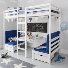 A super multifunctional and a brilliant space saver high sleeper bunk bed. Transforming from bunk bed to single bed with chill-out zone, Max adapts to suit your children's lifestyles and needs. Loft Bed With Couch, Bunk Bed With Desk, Desk Bed, High Sleeper Cabin Bed, Sleep Center, Bunk Bed Designs, Bedroom Designs, Pink Cushions, Kids Bunk Beds