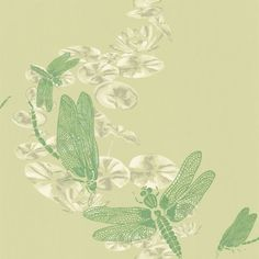 Dragonfly Apple Green (BG0600202) - Barneby Gates Wallpapers - A beautiful design with a mixture of paint and line drawing featuring dragon flies hovering above lily pads. Shown here in the apple green colourway. Other colourways are available. Please request a sample for a true colour match.