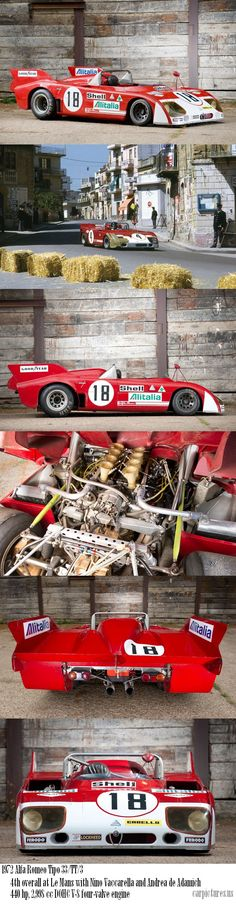 "1972 Alfa Romeo Tipo 33/TT/3 ""Le Mans"" Racing Car. Unarguably the most visually stunning and  visceral sounding open cockpit car made, Just Beautiful."