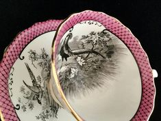 Rare Atlas China Stoke on Trent England Teacup and Saucer Set Pink and Black Beautiful set in great condition. No chips cracks or repairs.