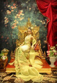 Barbie on golden throne