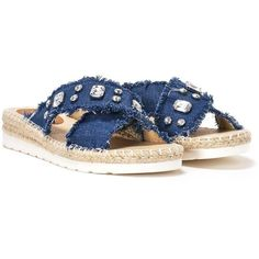 Nasty Gal Rise and Shine Diamante Slide Sandal (€35) ❤ liked on Polyvore featuring shoes, sandals, blue, nasty gal shoes, polish shoes, blue sandals, platform slide sandals and blue platform shoes