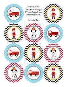 Imprimible fiesta círculos camión de bomberos por KinsleysKloset