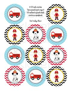 Printable Party Circles - Firetruck Party Cupcake Toppers - Firetruck Party Printables - Firetruck Birthday Party- Fireman- Dalmatian. $6.50, via Etsy.