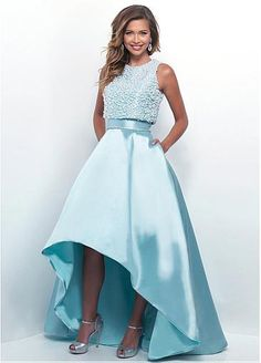 Formal Satin Jewel Neckline 2 In 1 Hi-lo Ball Gown Prom Dresses With Beadings