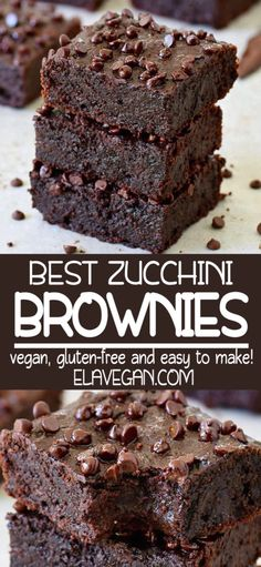 Vegan zucchini brownies which are soft moist gooey fudgy and very chocolaty! The recipe is plant-based gluten-free easy to make and delicious! Enjoy this vegan chocolate cake with your family and friends. Kids will love this healthy chocolate dessert. Healthy Chocolate Desserts, Healthy Sweets, Healthy Dessert Recipes, Easy Desserts, Cake Chocolate, Delicious Chocolate, Healthy Vegan Brownies, Delicious Food, Flourless Chocolate
