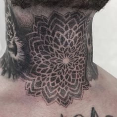 Stippled mandala on throat. Thanks Pascal. I'll be working in Dortmund at @bestechungtattoo next week. And have few open dates. So feel free to contact me for your tattoo needs. #tattoo #tattoos #jobstopper #blackink #dotworkers #dotwork...
