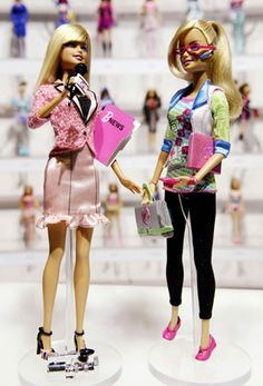 News Anchor Barbie (L) and Computer Engineer Barbie are shown in front of a display of career-doll Barbies at the Toy Fair in New York February 12, 2010.