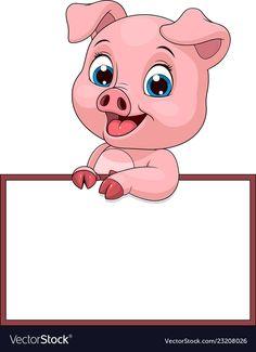 Funny funny pig vector image on VectorStock Kawaii Pig, Person Cartoon, Notebook Cover Design, Frame Border Design, Apple Logo Wallpaper Iphone, Cute Drawings, Cartoon Drawings, Pig Illustration, Funny Pigs