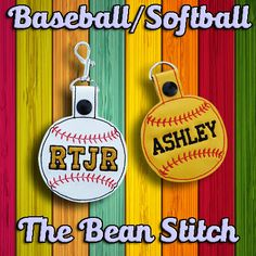 Embroidery Machine Download Design File - Baseball Softball Bag Tag Key Fob