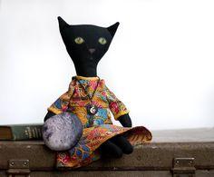 Black cat with moon fantasy fabric doll OOAK by UnderUmbrelland, $38.00