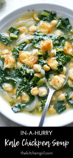 Healthy soup in 15 minutes with this Kale Chickpea Soup! Healthy, quick, weeknight meal #vegansoup #kalechickpea #vegan #chickpeasoup #kale #garbanzo Healthy Soup Vegetarian, Healthy Soup Recipes, Vegan Soups, Chili Recipes, Kale Recipes Vegan, Gluten Free Vegetarian Recipes, Brocolli Recipes, Real Food Recipes, Paleo
