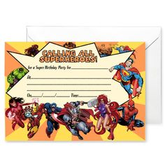 20 x Party Invitations inspired by Superheroes Party Invitations, Party Themes, Inspired, Inspiration, Biblical Inspiration, Inspirational, Inhalation