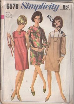 MOMSPatterns Vintage Sewing Patterns - Simplicity 6578 Vintage 60's Sewing Pattern SWELL Twiggy Mod Contrast Colorblock Yoke Straight Fitted Dress