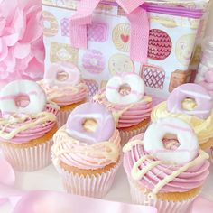 Macmillan Coffee Morning Cupcake idea - Party Ring Cupcakes With White Chocolate Milky Bar Drizzle Cupcakes Fondant, Cute Cupcakes, Baby Girl Cupcakes, 1st Birthday Cupcakes, Pink Cupcakes, Christening Cupcakes Girl, Girlie Birthday Cakes, Biscuit Cupcakes, Donut Cupcakes