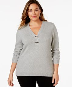 Charter Club Plus Size V-Neck Hardware Sweater, Only at Macy's