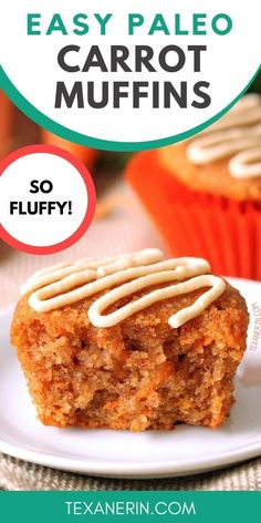 Moist, lightly sweetened with honey and even a little fluffy, these grain-free and gluten-free healthier carrot cake muf Gluten Free Carrot Cake, Carrot Cake Muffins, Healthy Carrot Cakes, Paleo Sweets, Paleo Dessert, Dessert Recipes, Desserts, Paleo Food, Paleo Diet