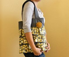 New  The Sybil Tote Bag  Mustard Martini print by HandsFullDesigns, $37.00