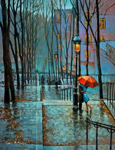 Acrylic painting of a couple under a red umbrella at the steps of Montmartre, Paris by Chris McMorrow on ARTwanted (with Pin-It-Button) Tornados, Parasols, Umbrellas, Night Walkers, I Love Rain, Rain Art, Umbrella Art, Acrylic Artwork, Expressive Art