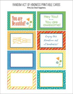 Free Random Acts of Kindness Printable Cards from Carla Schauer Designs