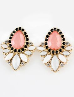 Pink White Gemstone Gold Diamond Earrings by: SheInside