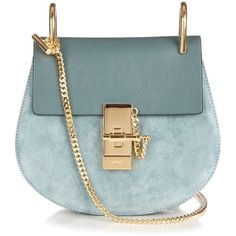 Chloé Drew mini leather and suede shoulder bag ($1,563) ❤ liked on Polyvore featuring bags, handbags, shoulder bags, blue, blue leather handbag, blue leather shoulder bag, suede shoulder bag, genuine leather handbags and blue handbags
