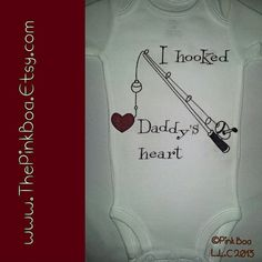 I+HOOKED+DADDY'S+HEART+Fishing+T+Shirt++Fishing+gift+by+ThePinkBoa,+$16.00 Fishing Onesie. Kids Fishing Shirt. Gift for Dad. Gift for Grandpa. Personalize with any name you'd like. #fishingshirt . Baby Shower Gift . Sweet Baby Onesie. Cute Baby Outfit .