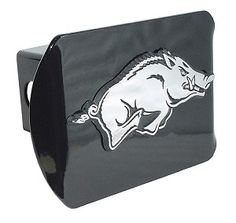 University of Arkansas Running Hog on Black Hitch Cover. Made in the USA. A step above in quality and appearance. Hitch Cover Front plate 5 x 3.5 Fits standard 2 trailer hitch receivers.