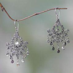 Sterling silver chandelier earrings, 'Silver Peacock Feather' - Fair Trade Handmade Sterling Silver Chandelier Earrings