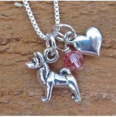 Akita Mini Heart Sterling Silver Necklace, Dog Park Publishing