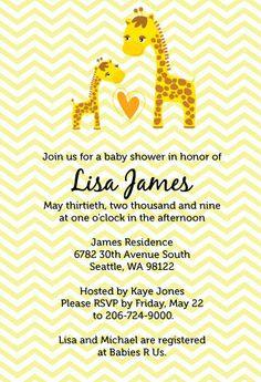 Printable Giraffe Baby Shower Invitation and by UrbanBelleDesigns, $23.00
