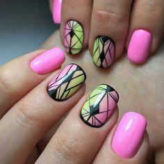 Neon stripe mani. Total bad ass