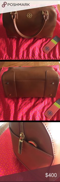 Tory Burch Robinson middy satchel luggage brown Barely used. Almost perfect condition! Minor wear on piping on each side near the hook to connect the strap (pictured). A few spots on inside lining. Comes with dust bag and original tag. Perfect neutral color goes with everything. Can he used cross body with the strap or handheld. Has an outside slip pocket on each side, 2 inside slip pockets and a zip pocket inside. 100% authentic and very well cared for. NO TRADES!!! ALL TRADE REQUESTS WILL…