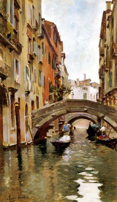""""""" Gondola On A Venetian Canal """" painted by Rubens Santoro. Venice Canals, Venice Italy, Venice Painting, Building Painting, Italian Paintings, Beautiful Paintings, Landscape Art, Watercolor Paintings, Scenery"""