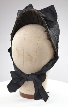 Victorian Black Straw Mourning Bonnet