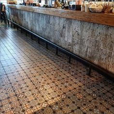 delfornotilesandtimber One more from Craft Lane @corkairport . The serving counter detail is from our vintage aged wood look tile. With the texture and colours of 200 year old weathered oak, combined with our colourful pattern floor, both are in stock now at Delforno Tiles and Timber.