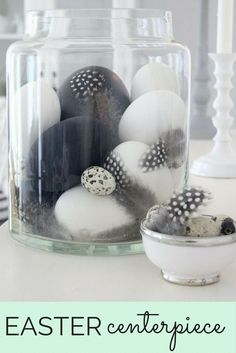 Easter centerpiece | Feathers and eggs #wishtankworthy ♥