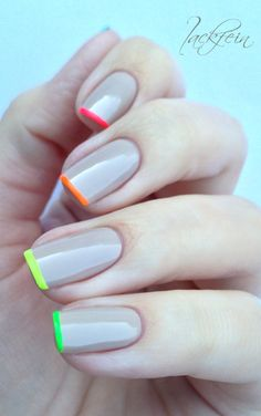 Neon tips & nude base #nailart