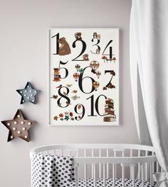 Oktoberdots cijferposter voor de babykamer in mooie vintage kleuren.