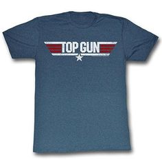 Top Gun Retro Distressed Logo Mens T-Shirt Licensed  TopGun Screen Printed Top