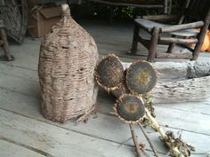 Antiques At Creekside Farm - Antiques & Americana Candles Primitive Kitchen, Primitive Antiques, Primitive Decor, Dried Sunflowers, My Secret Garden, Secret Gardens, Bee Skep, Primitive Gatherings, Garden Items